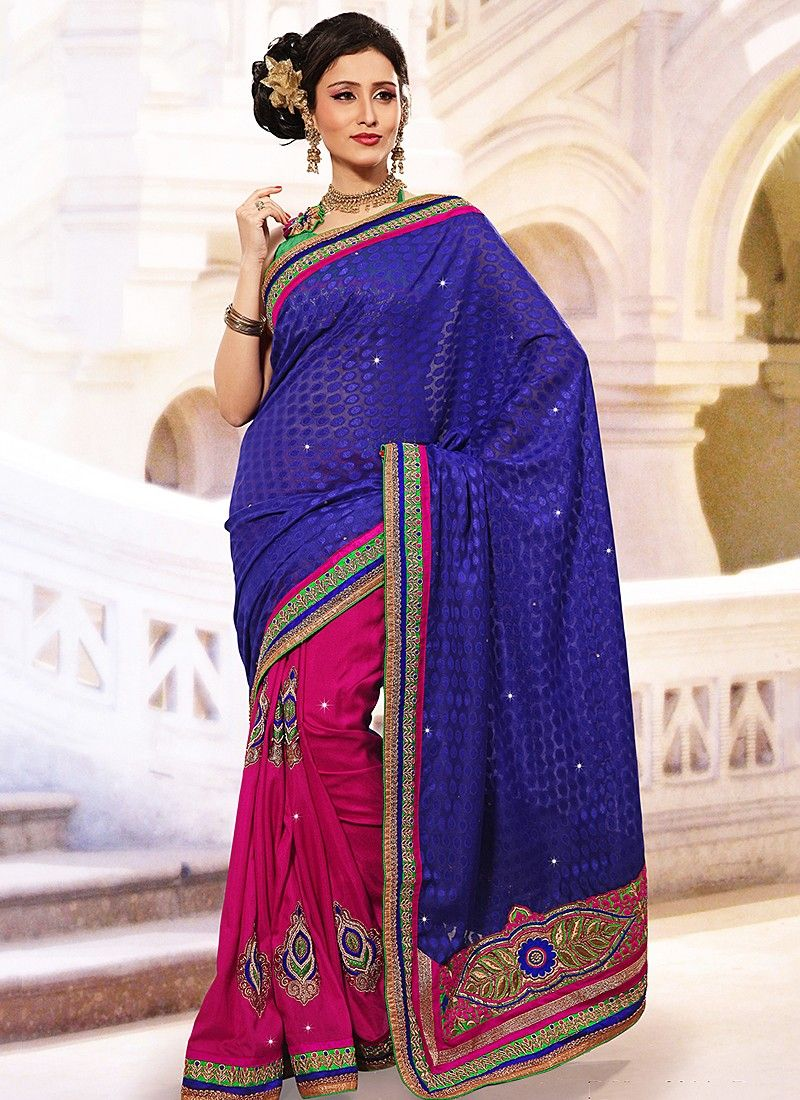 Statuesque Blue Half And Half Saree
