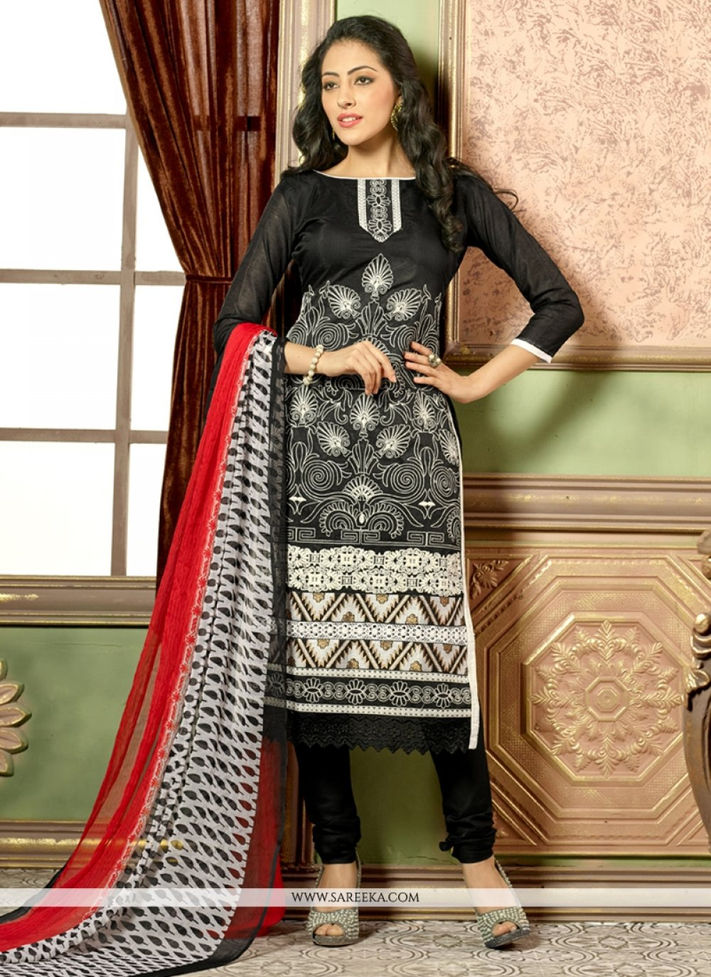 Black Embroidered Work Chanderi Cotton Churidar Salwar Kameez