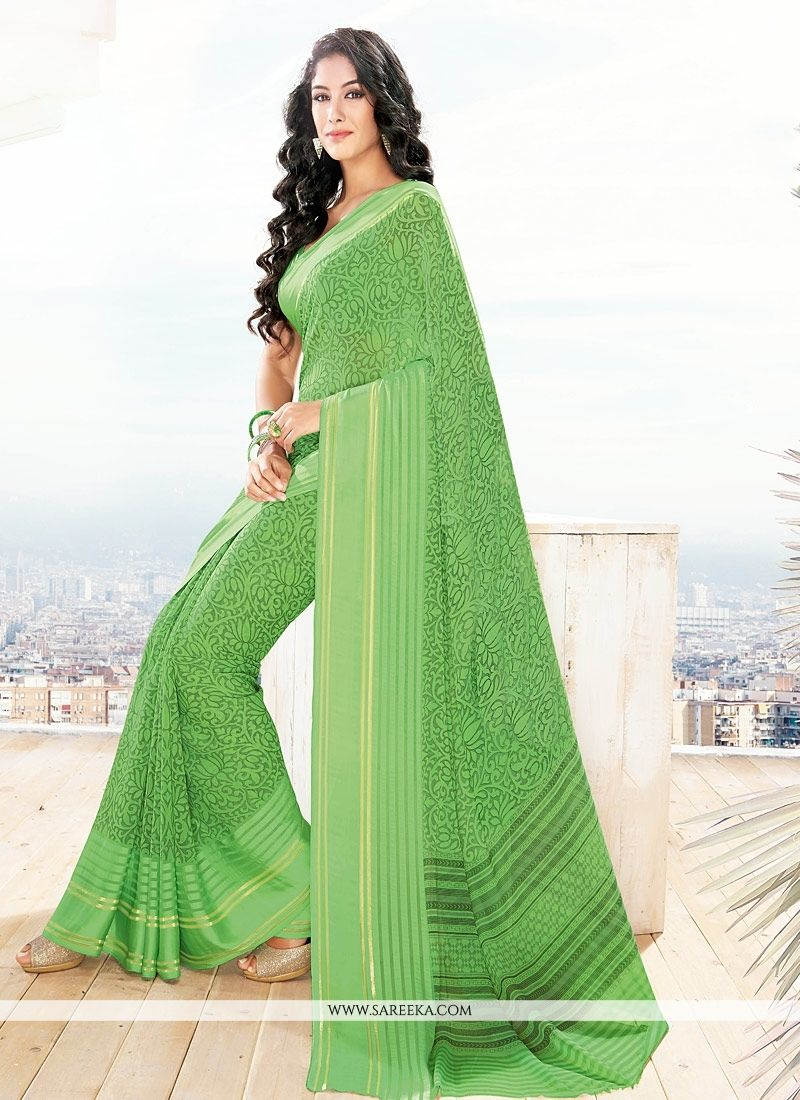 Georgette Green Lace Work Casual Saree