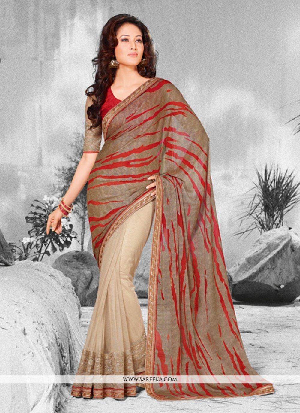 Georgette Multi Colour Patch Border Work Designer Saree