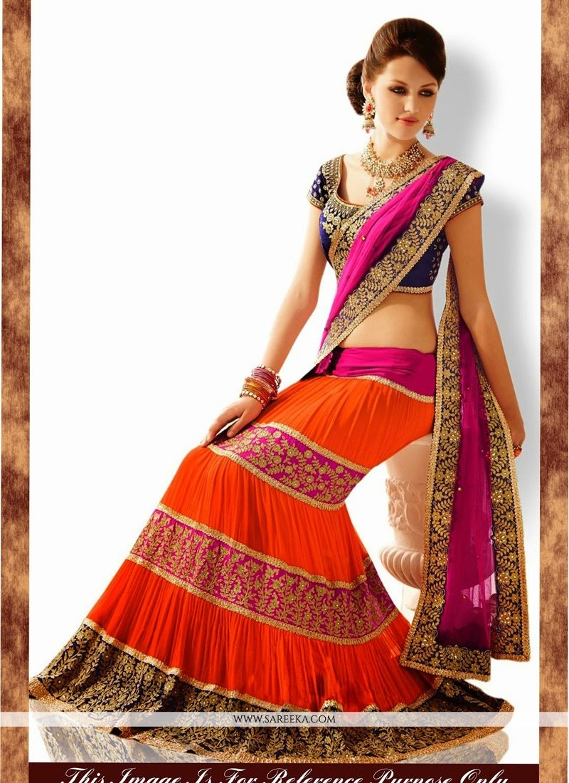 Hot Pink and Orange Lehenga Saree