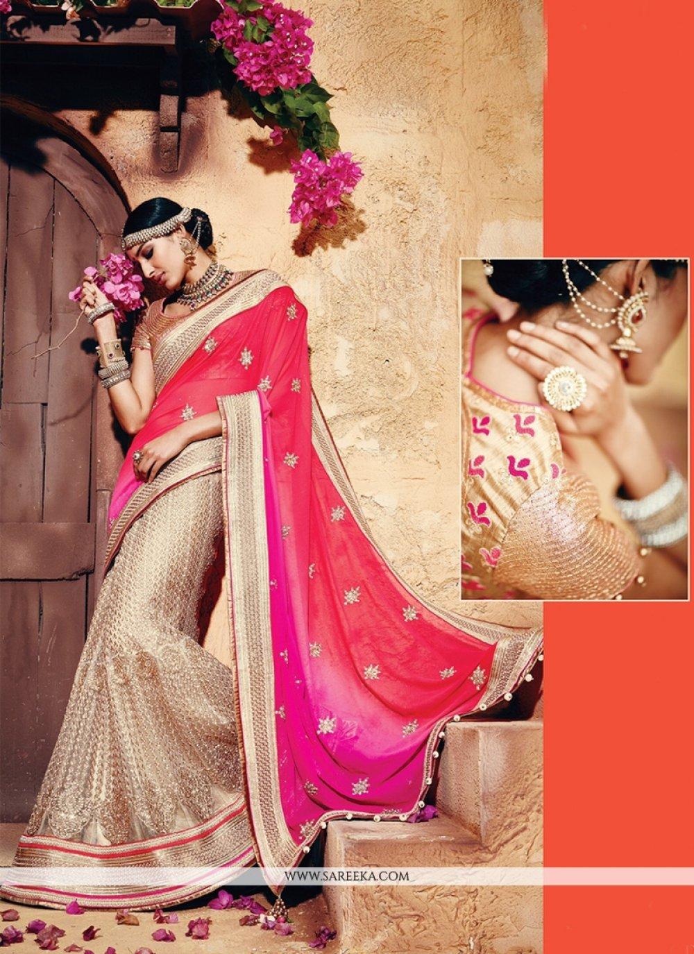 Patch Border Work Beige and Pink Classic Designer Saree