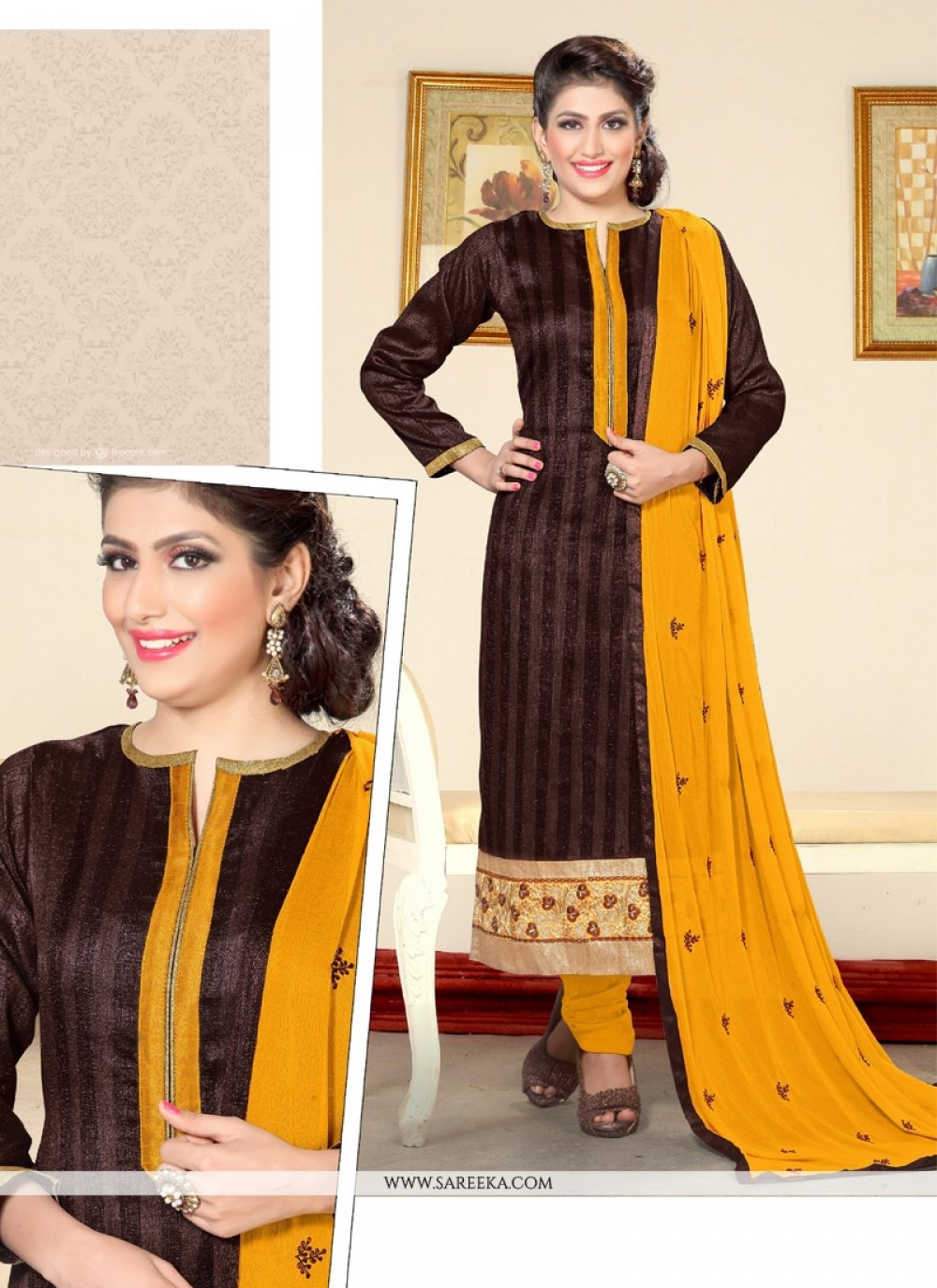 Resham Work Jute Silk Designer Straight Salwar Kameez