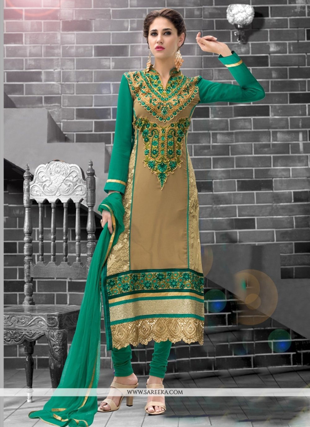 Beige Patch Border Work Churidar Designer Suit