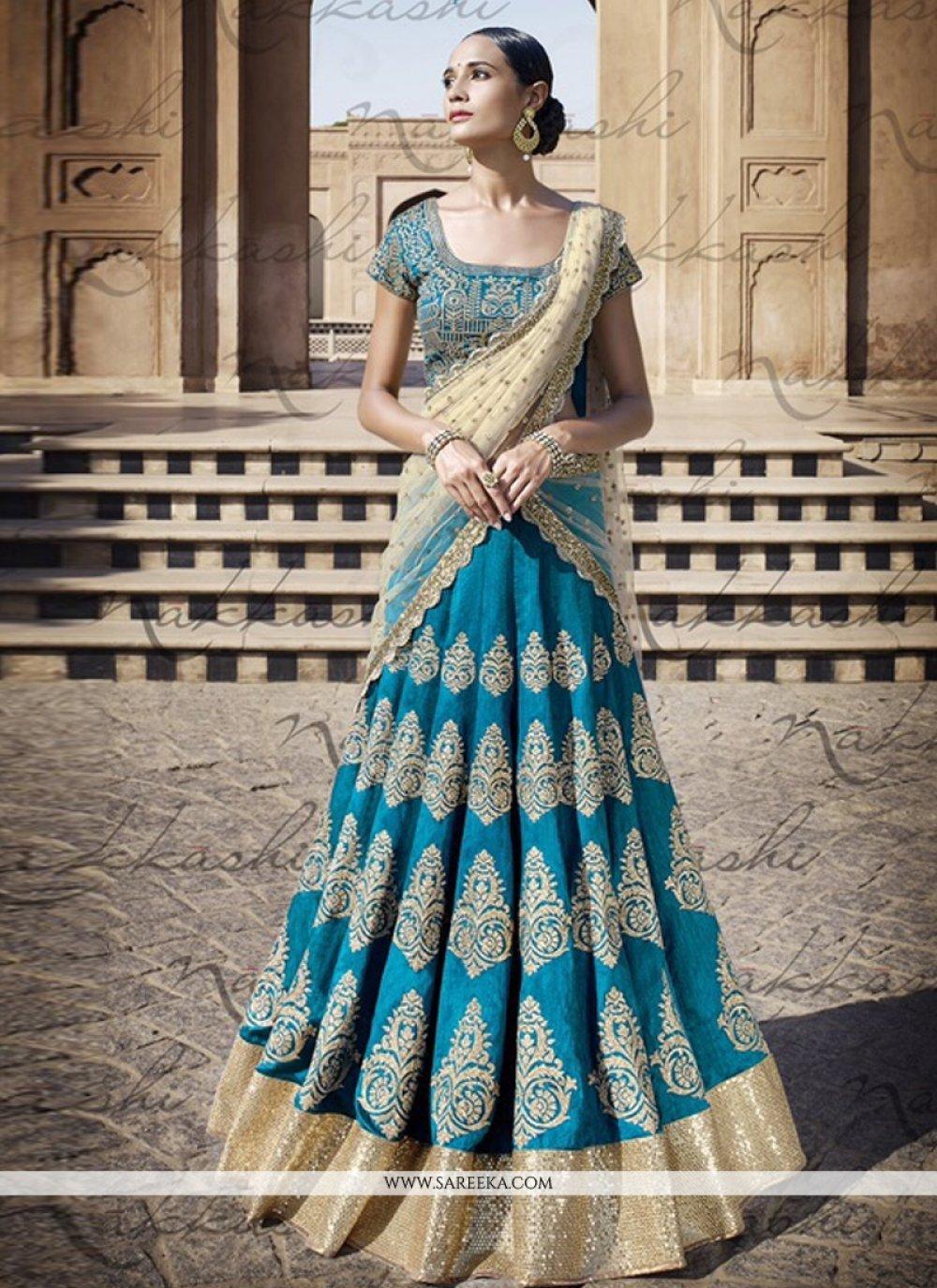Bhagalpuri Silk Blue Resham Work A Line Lehenga Choli
