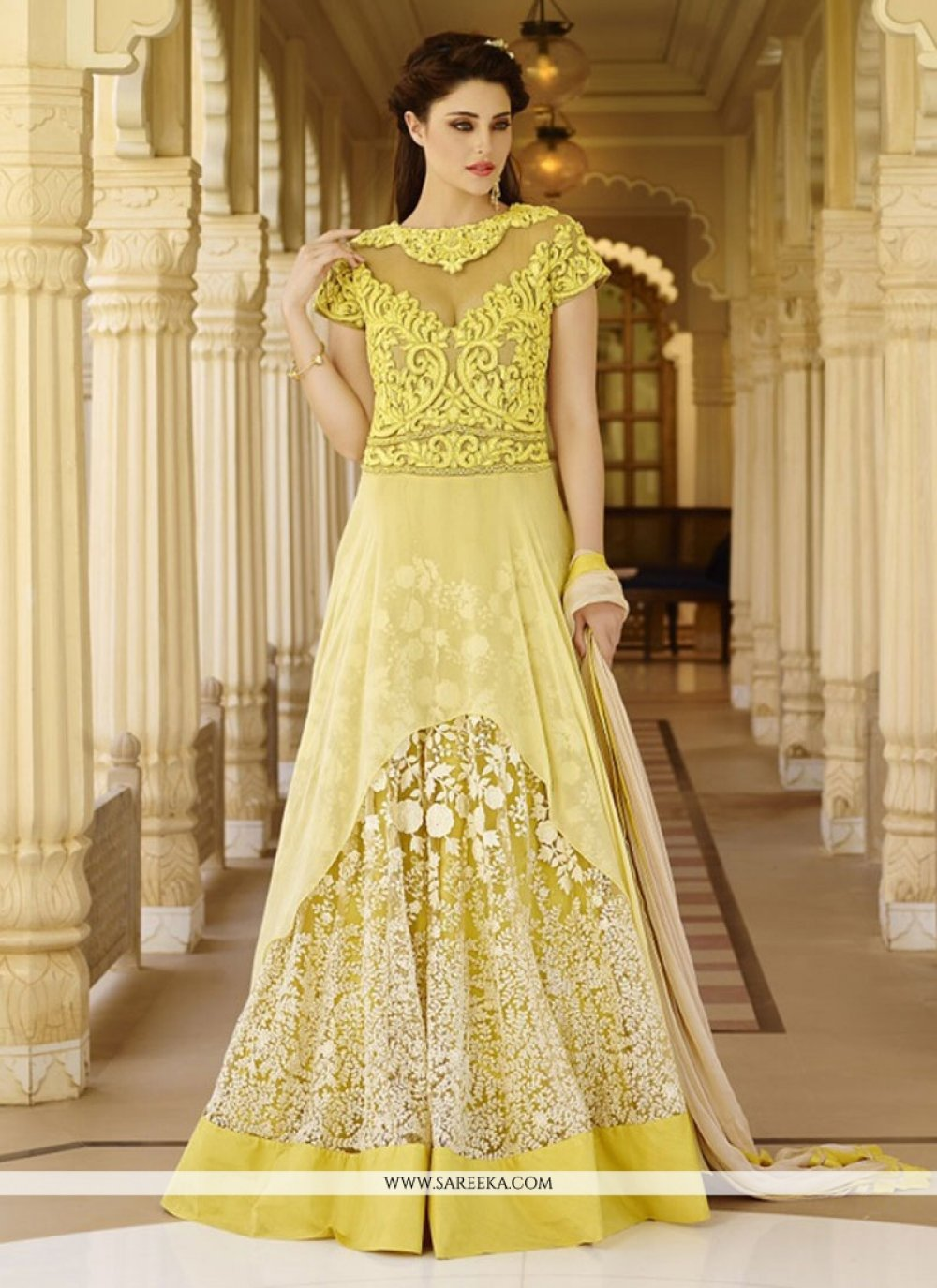 Embroidered Work Yellow Georgette Floor Length Anarkali Salwar Suit