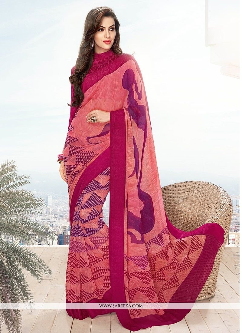 Georgette Hot Pink Lace Work Casual Saree