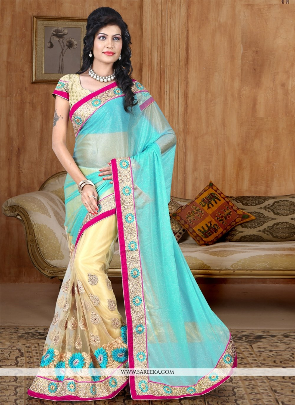 Net Turquoise Half N Half Designer Saree