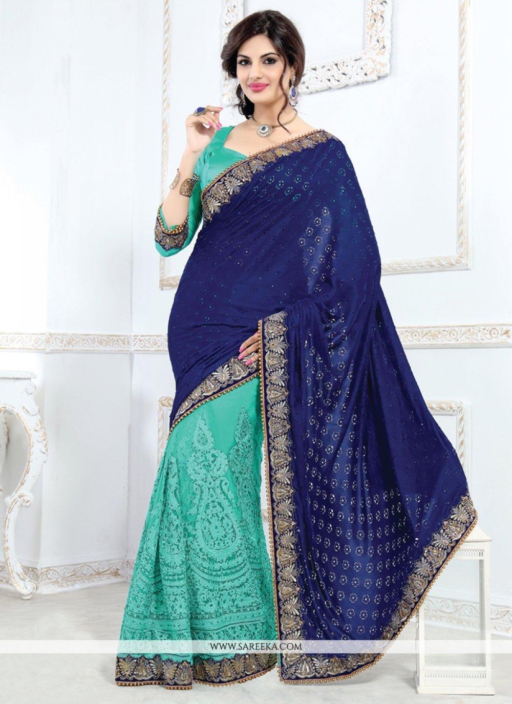 Patch Border Work Blue Velvet Designer Saree