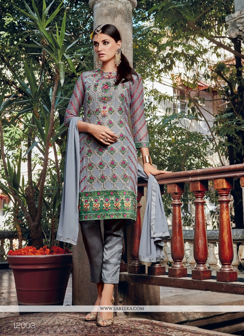 Resham Work Georgette Pant Style Suit