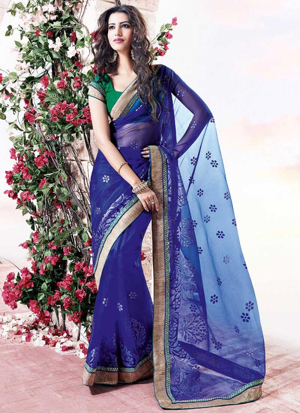 Blue Border Work Net Saree