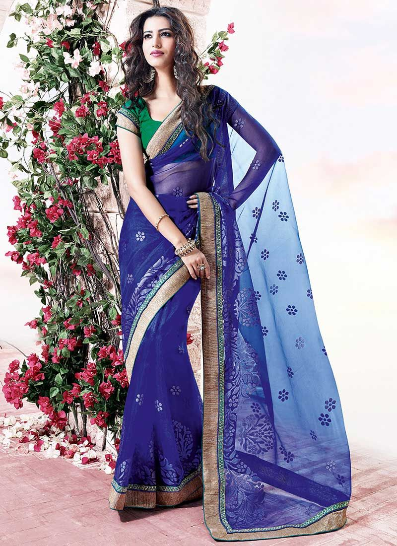 Blue Border Work Net Saree