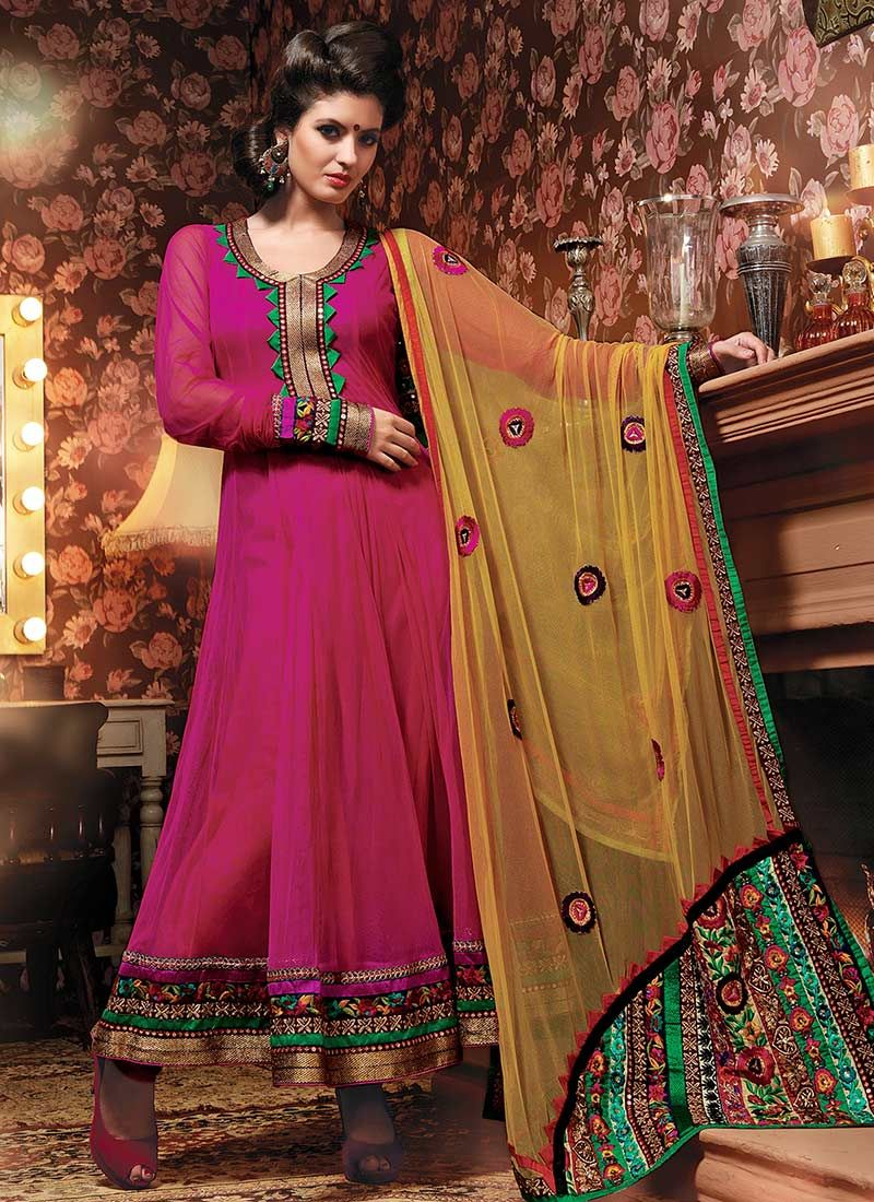 Magenta Net Pakistani Suit
