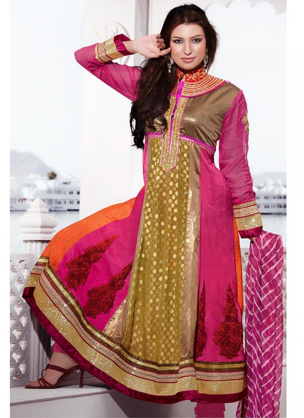 Multicolored Churidar Suit