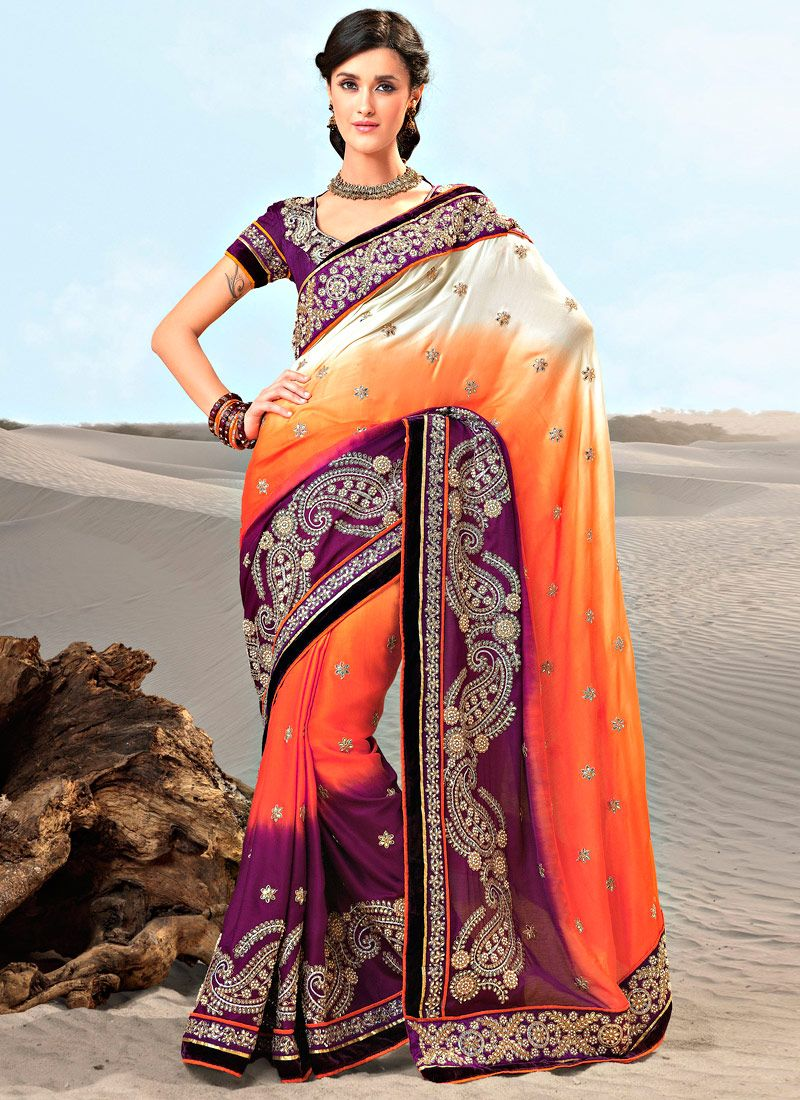 Purple And Orange Satin Saree