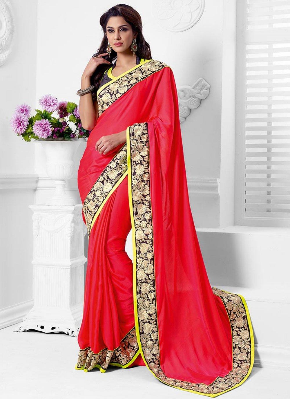 Red Satin Casual Saree