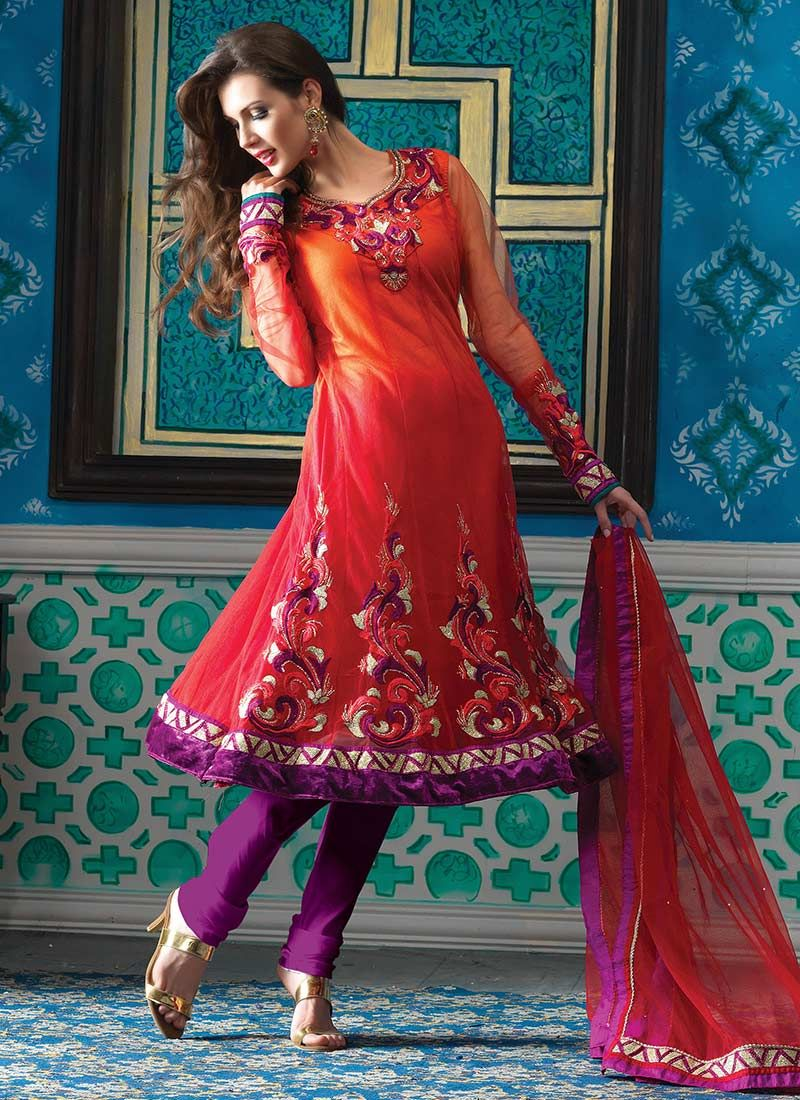 Shaded Red Net Churidar Suit