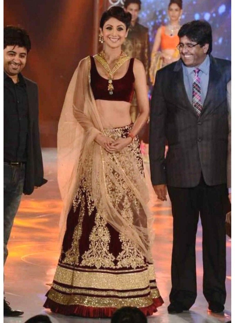 Stunin Shilpa Shetty  Wine, Beige Velvet Sequins Work Stylish Lahenga Choli