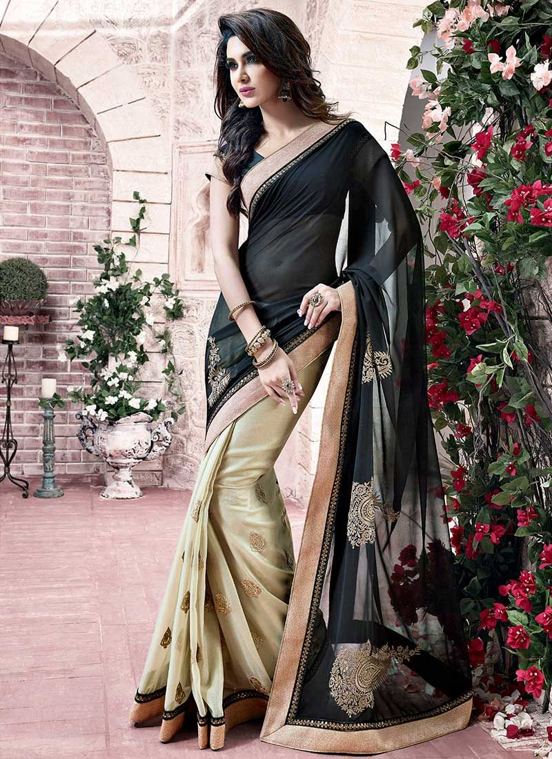 Beige And Black Zari Half And Half Saree