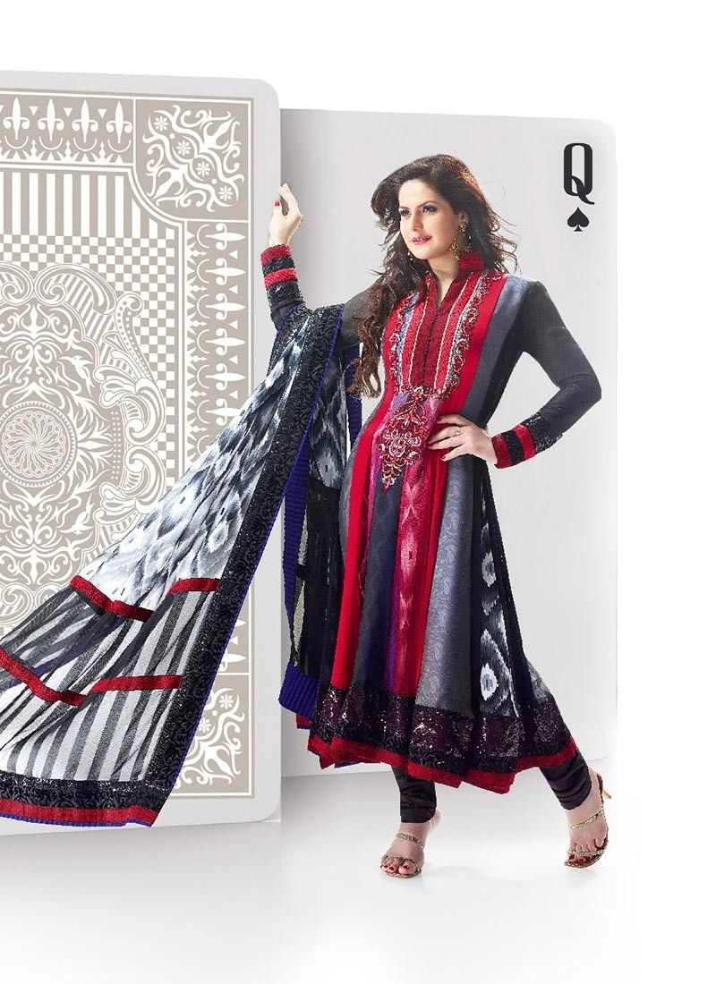 Black And Red Satin Salwar Kameez