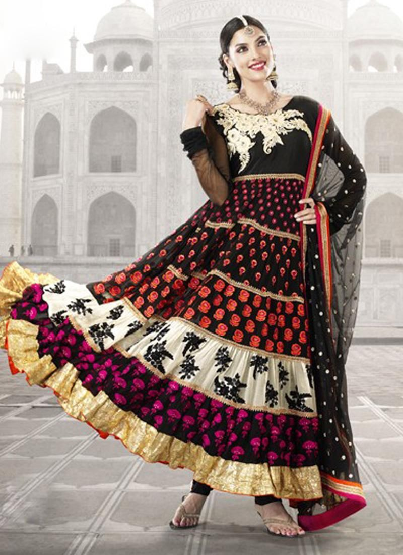 Black Faux Georgette Anarkali Suit