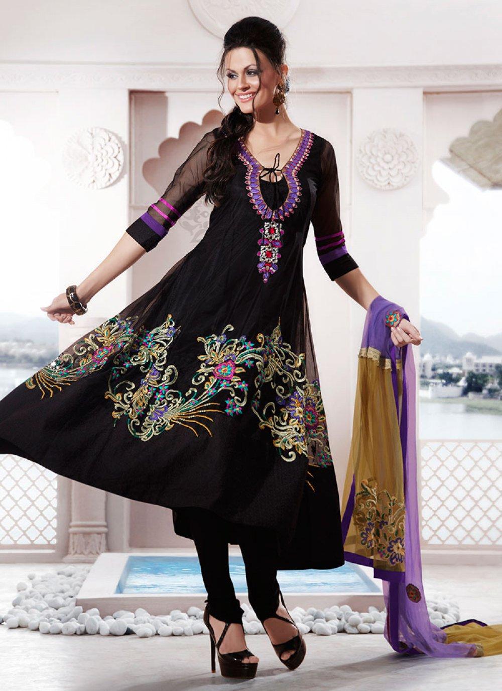 Black Net Anarkali Suit
