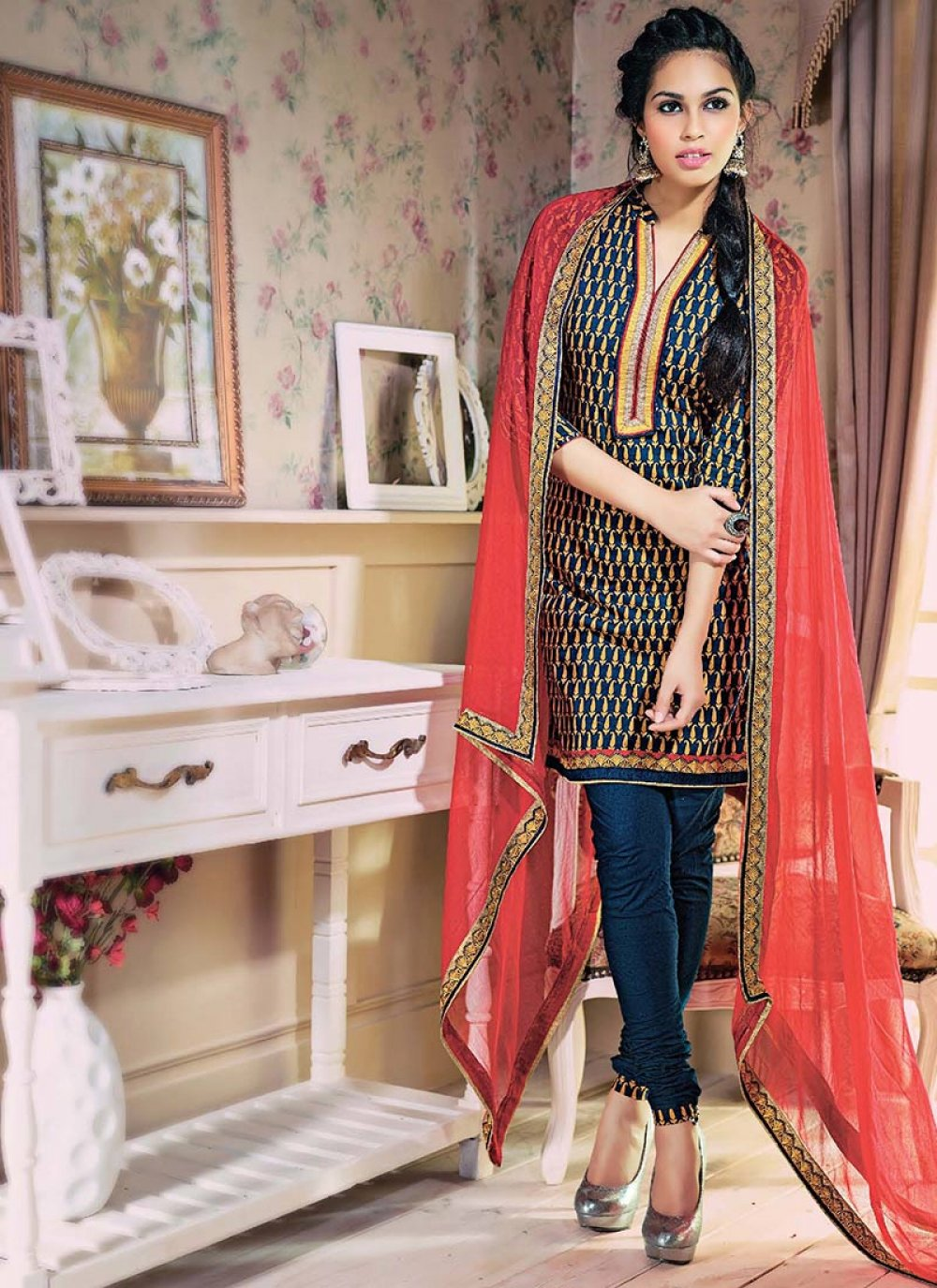 Blue And Red Printed Cotton Churidar Suit