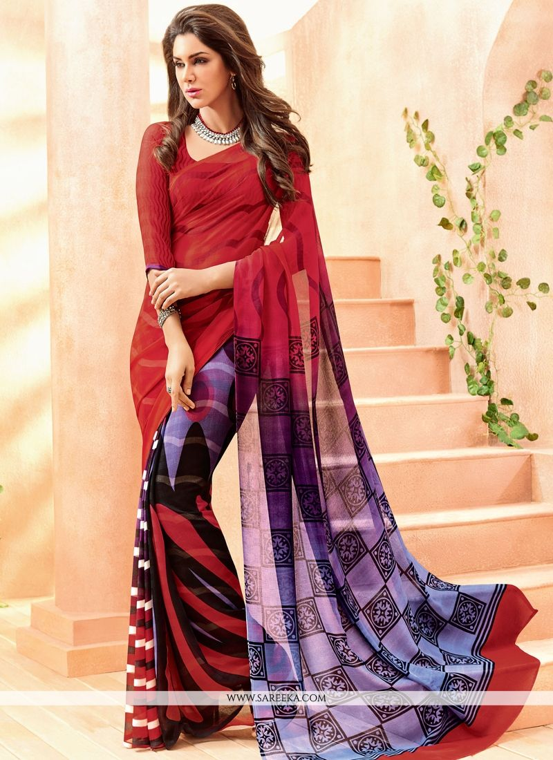 Faux Chiffon Multi Colour Lace Work Casual Saree