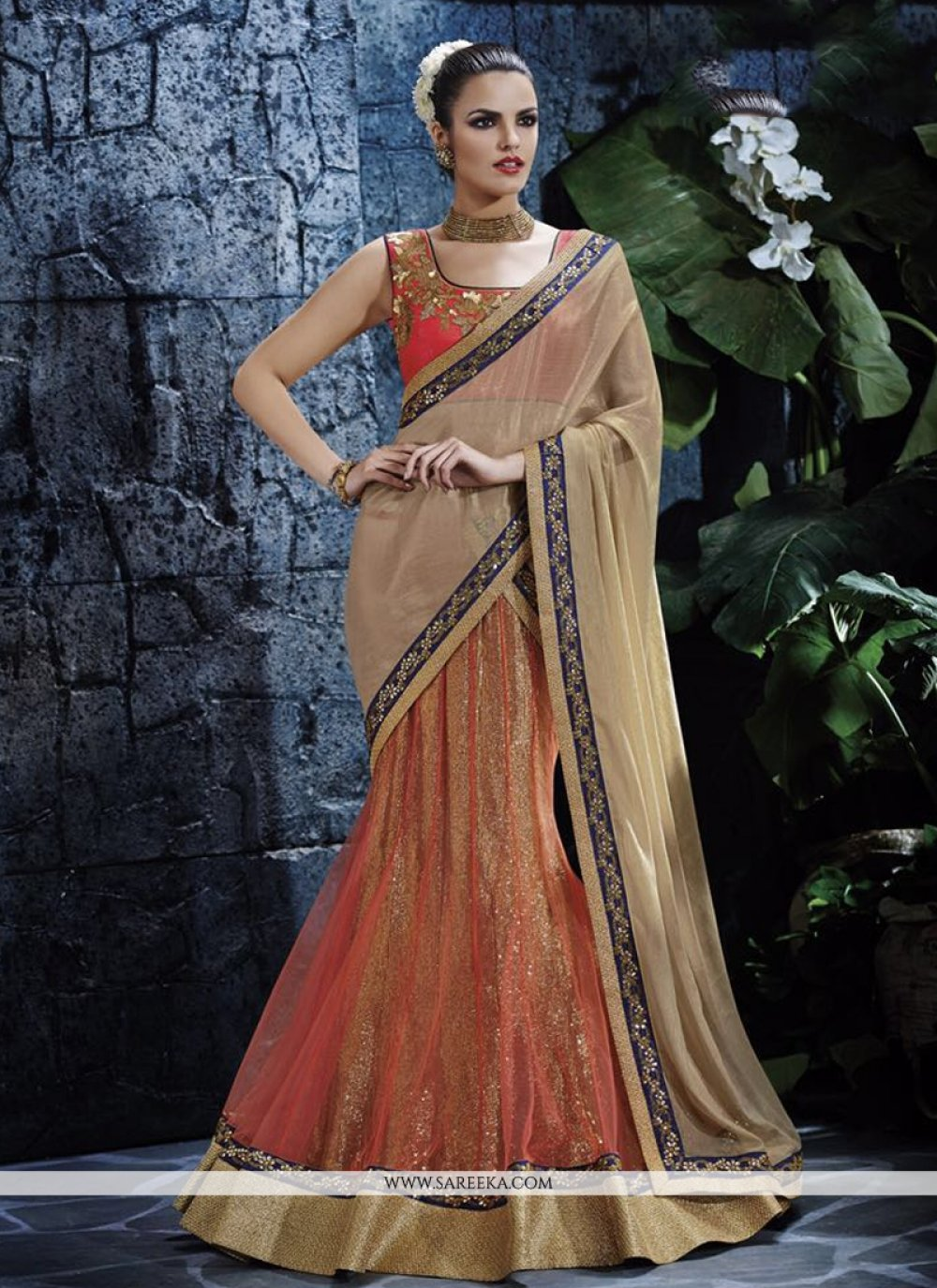 Faux Chiffon Orange Lehenga Saree