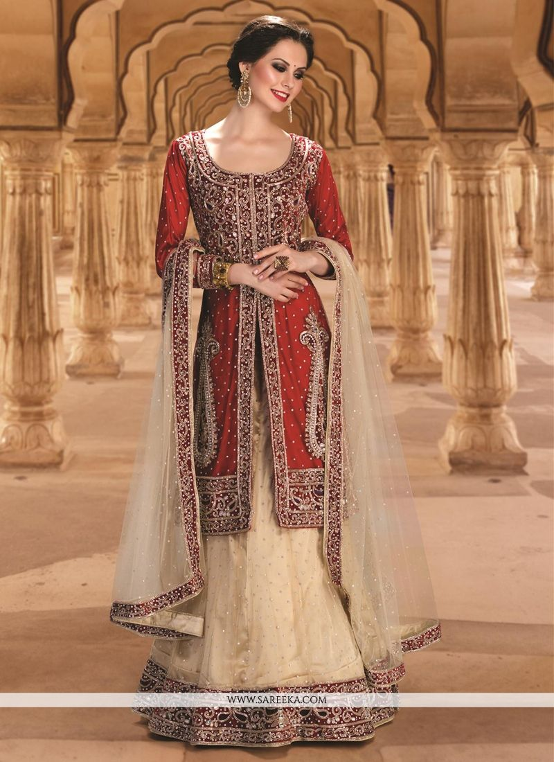 Gold and Red Resham Work Net A Line Lehenga Choli