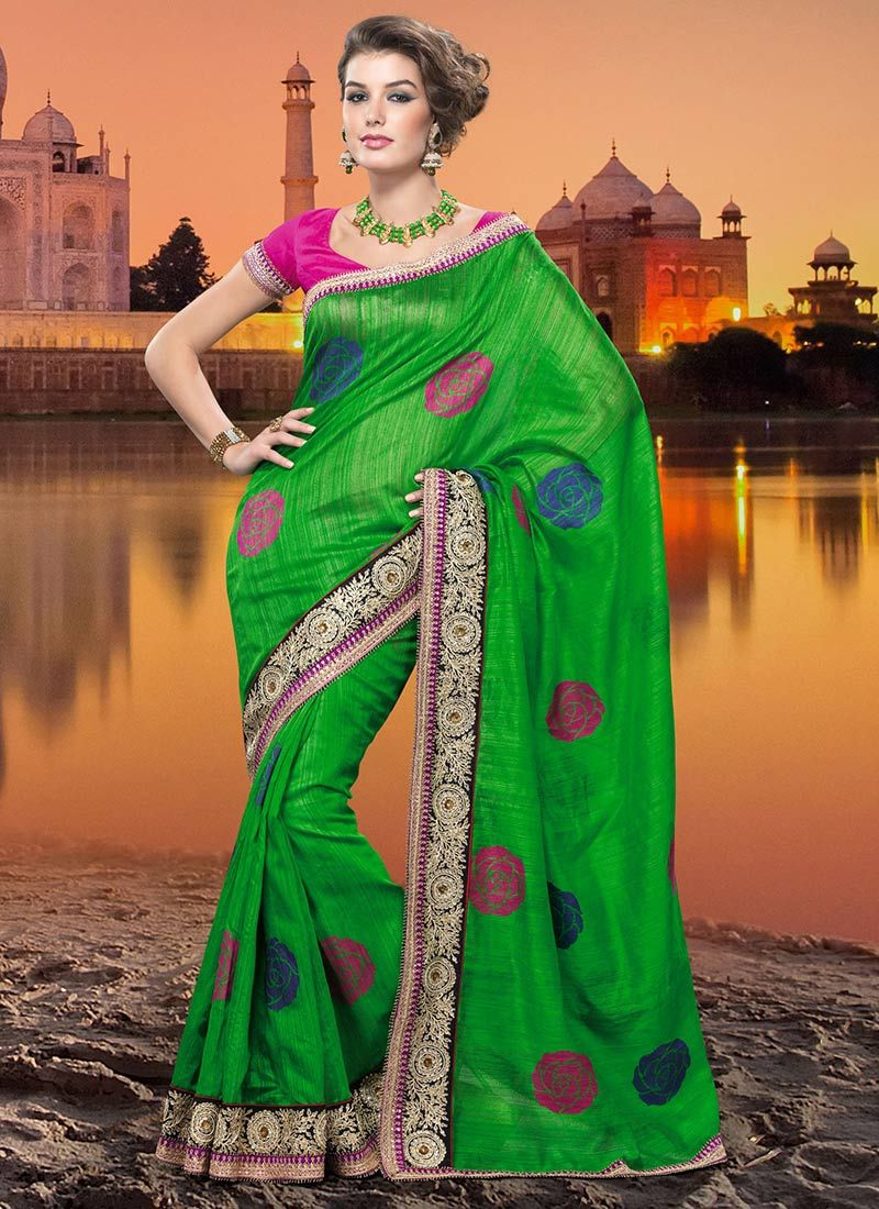 Green Bhagalpuri Silk Saree