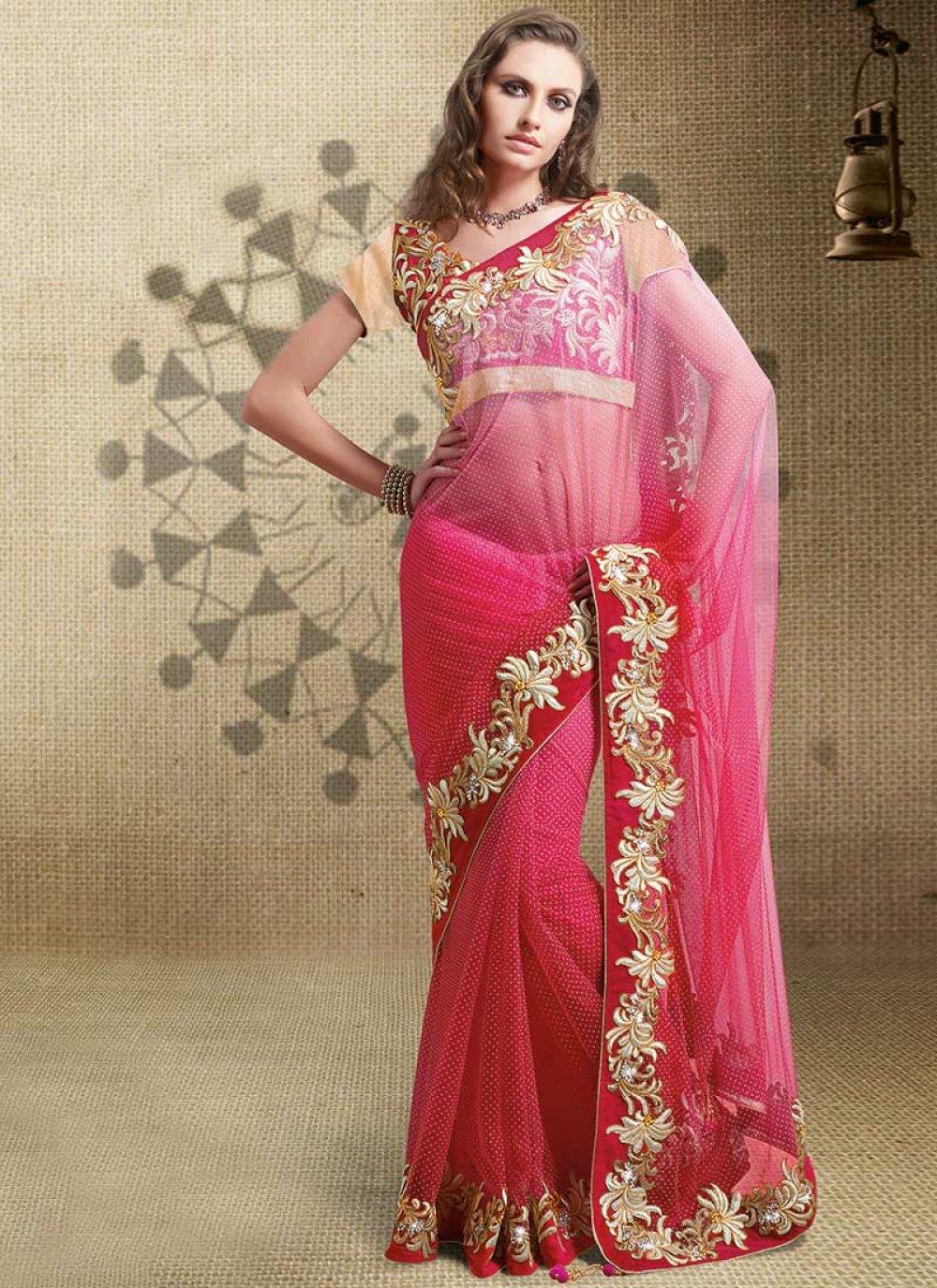 Hot Pink Net Saree