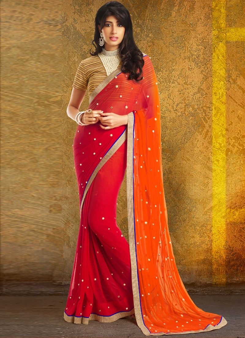 Orange And Red Patch Border Saree
