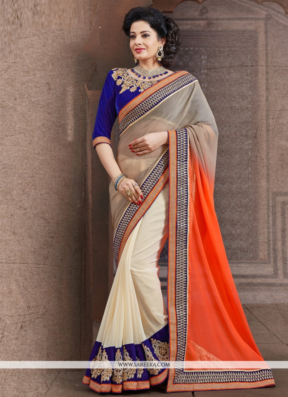 Orange and White Designer Saree