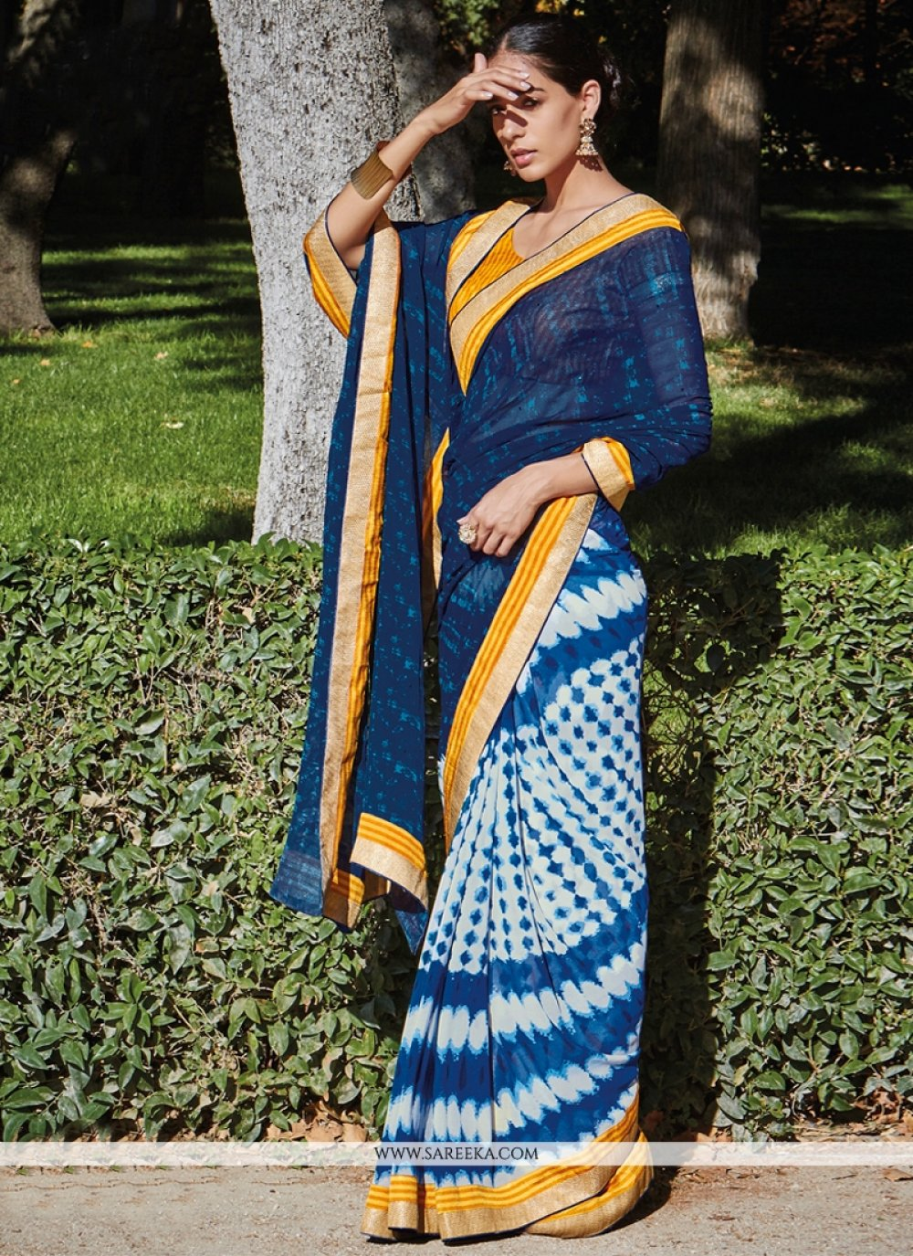 Patch Border Work Georgette Casual Saree
