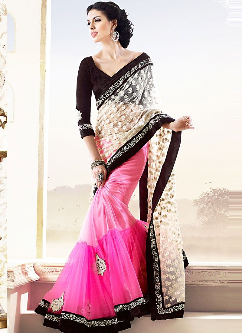 Pink And Cream Net Half And Half Saree