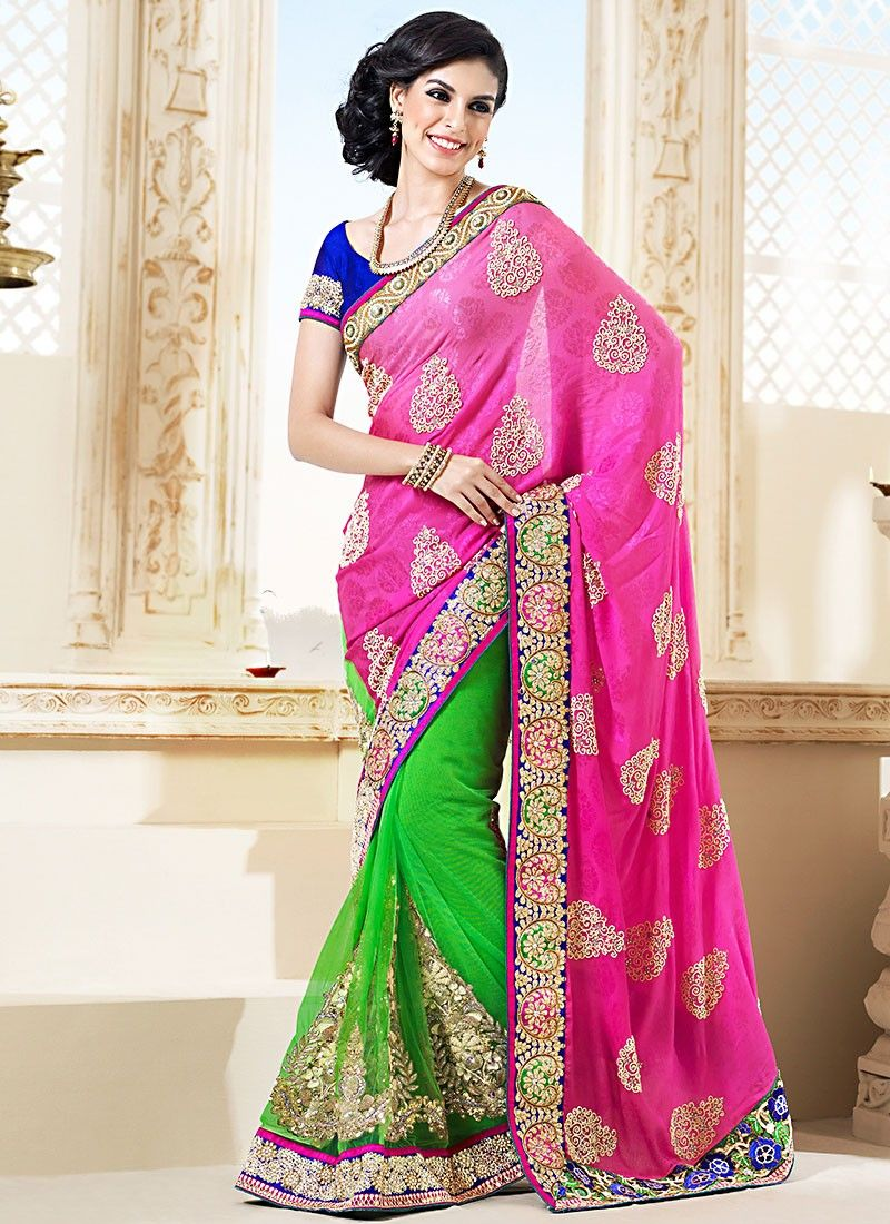 Pink Jacquard Half And Half Saree