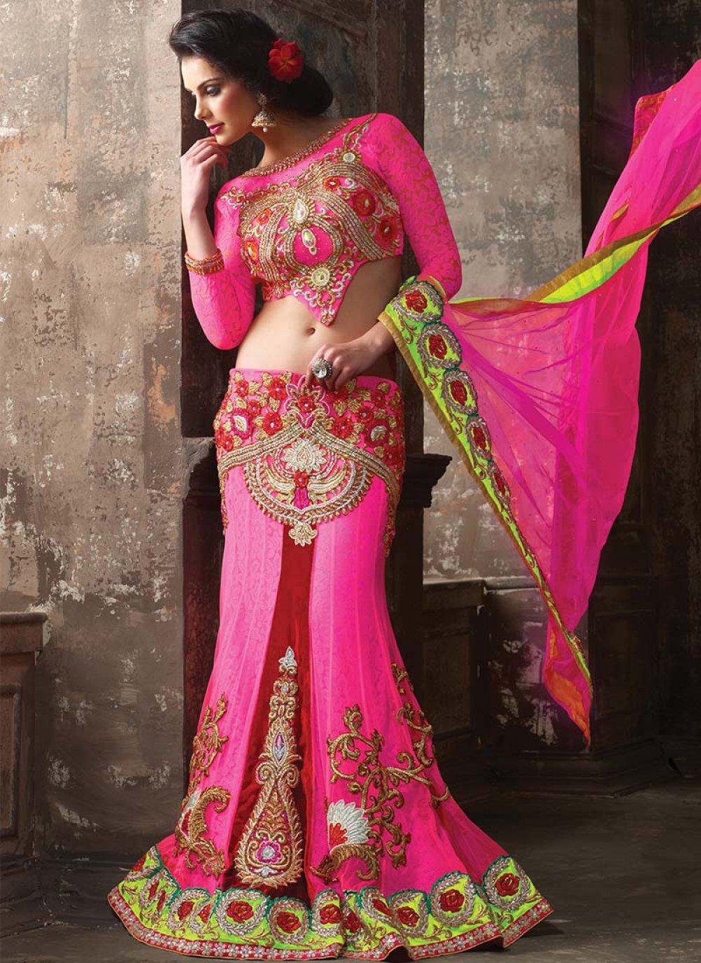 Pink Net Zari Enhanced Lehenga Choli