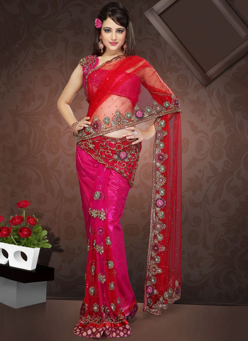 Red and Pink Net Lehenga Style Saree
