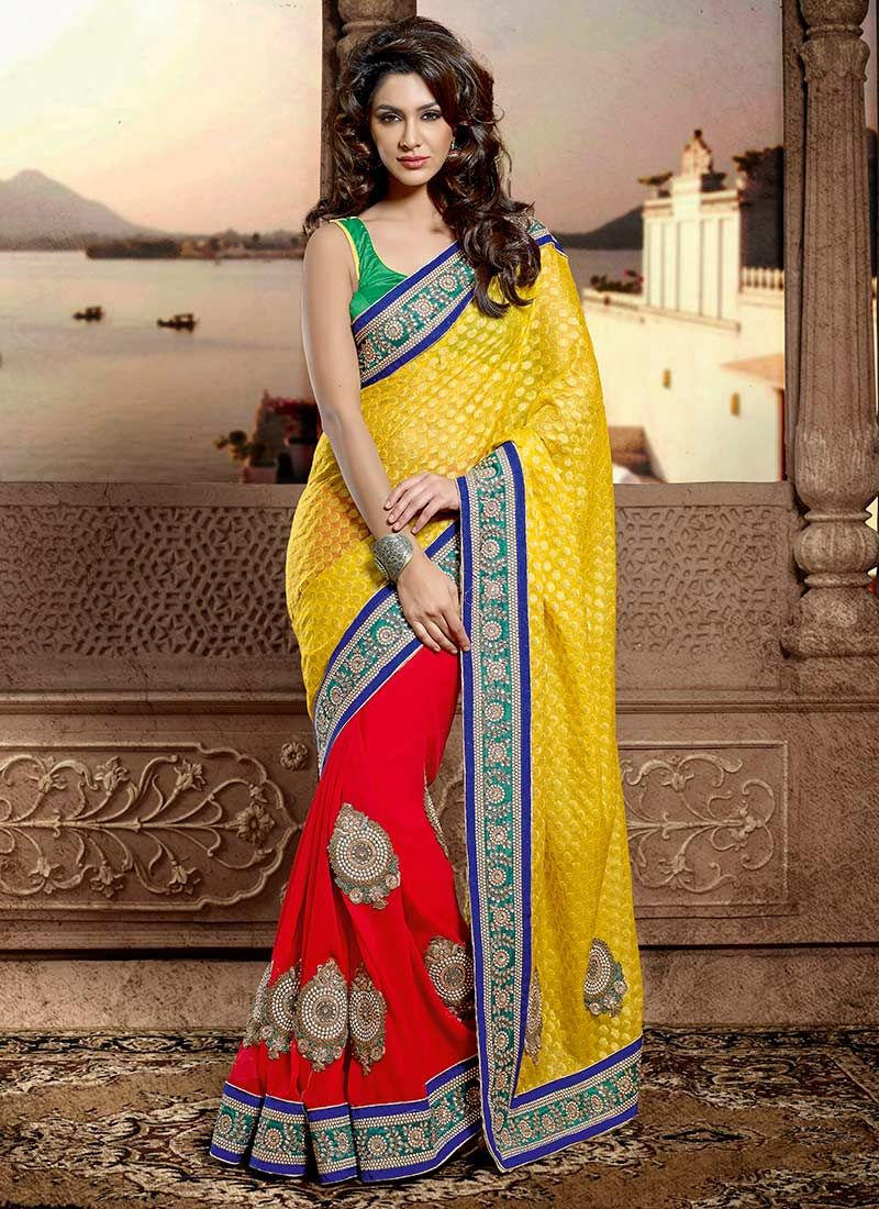 Red And Yellow Viscose Jacquard Saree