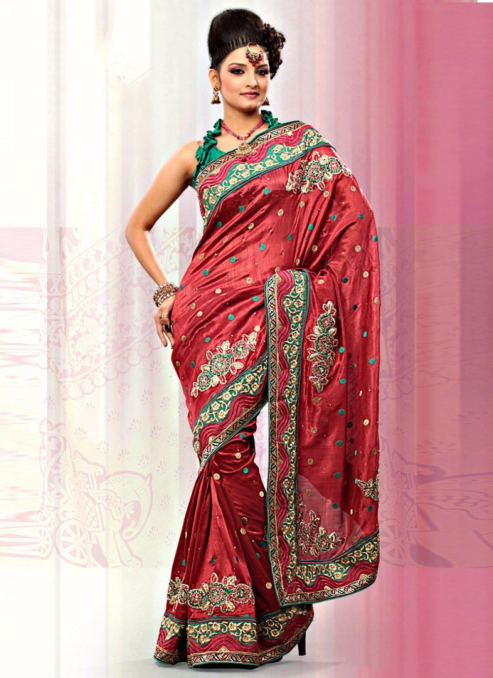 Red Art Bhagalpuri Silk Saree