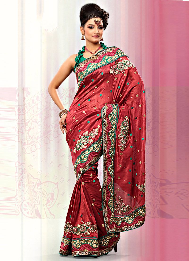 Red Art Bhagalpuri Silk Saree