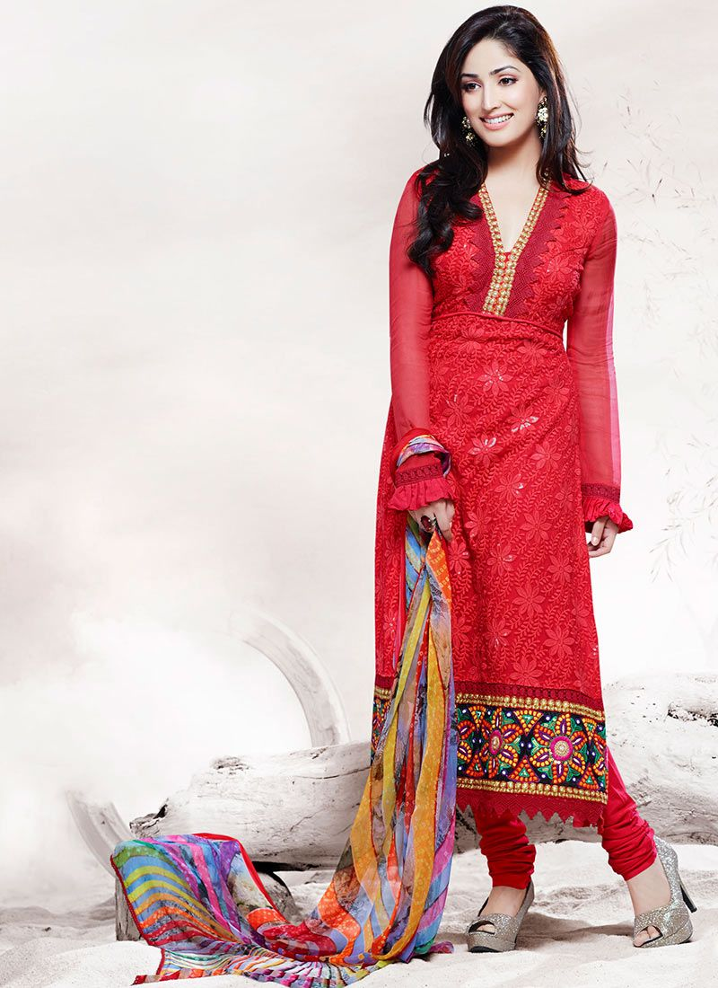 Red Patch Border Work Stylish Churidar Suit