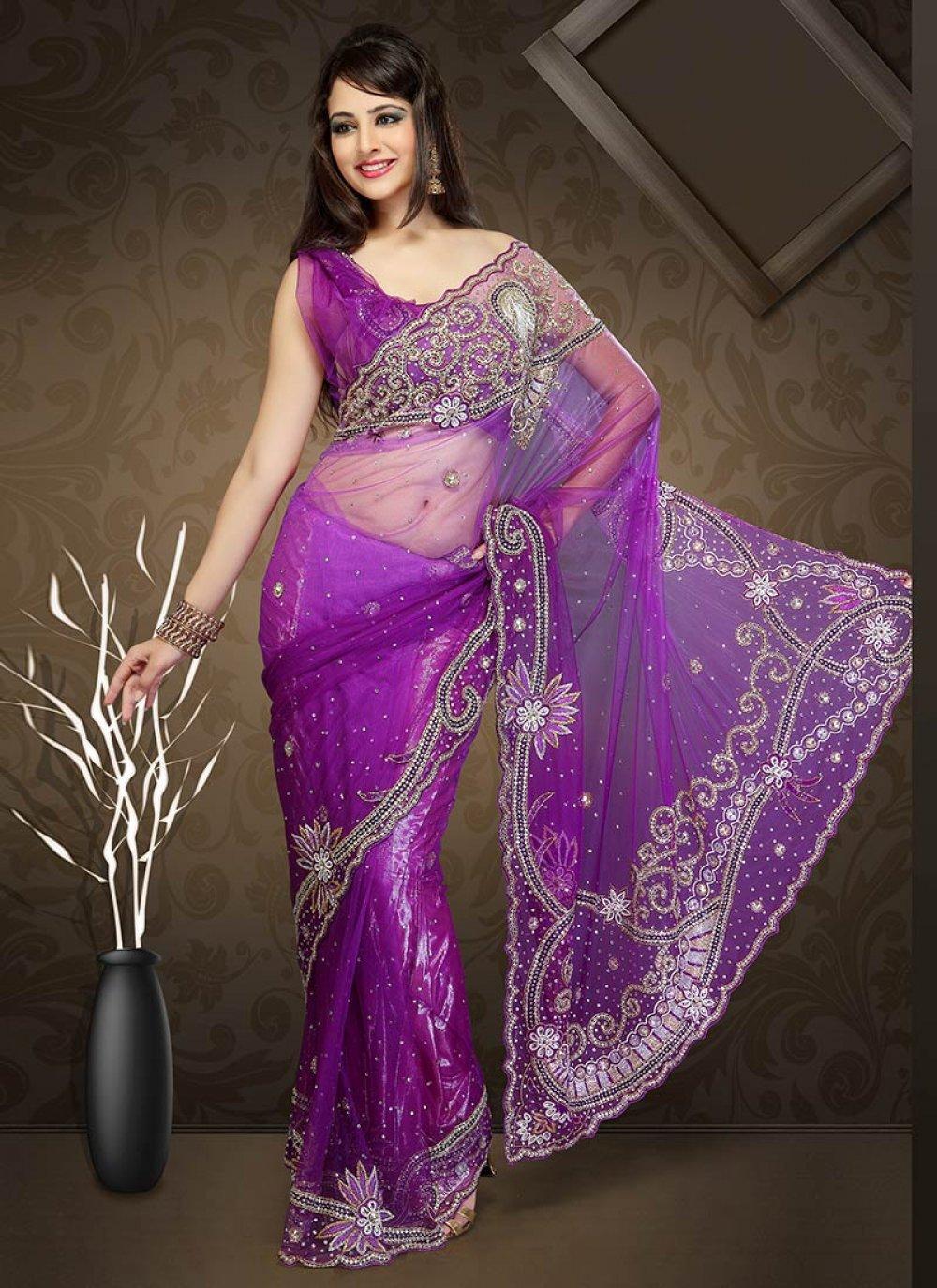 Shaded Purple Net Saree