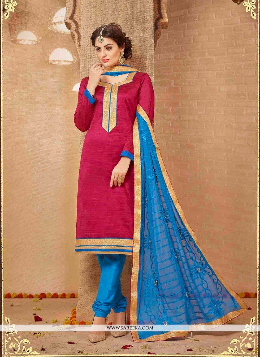 Banarasi Silk Red Lace Work Churidar Designer Suit