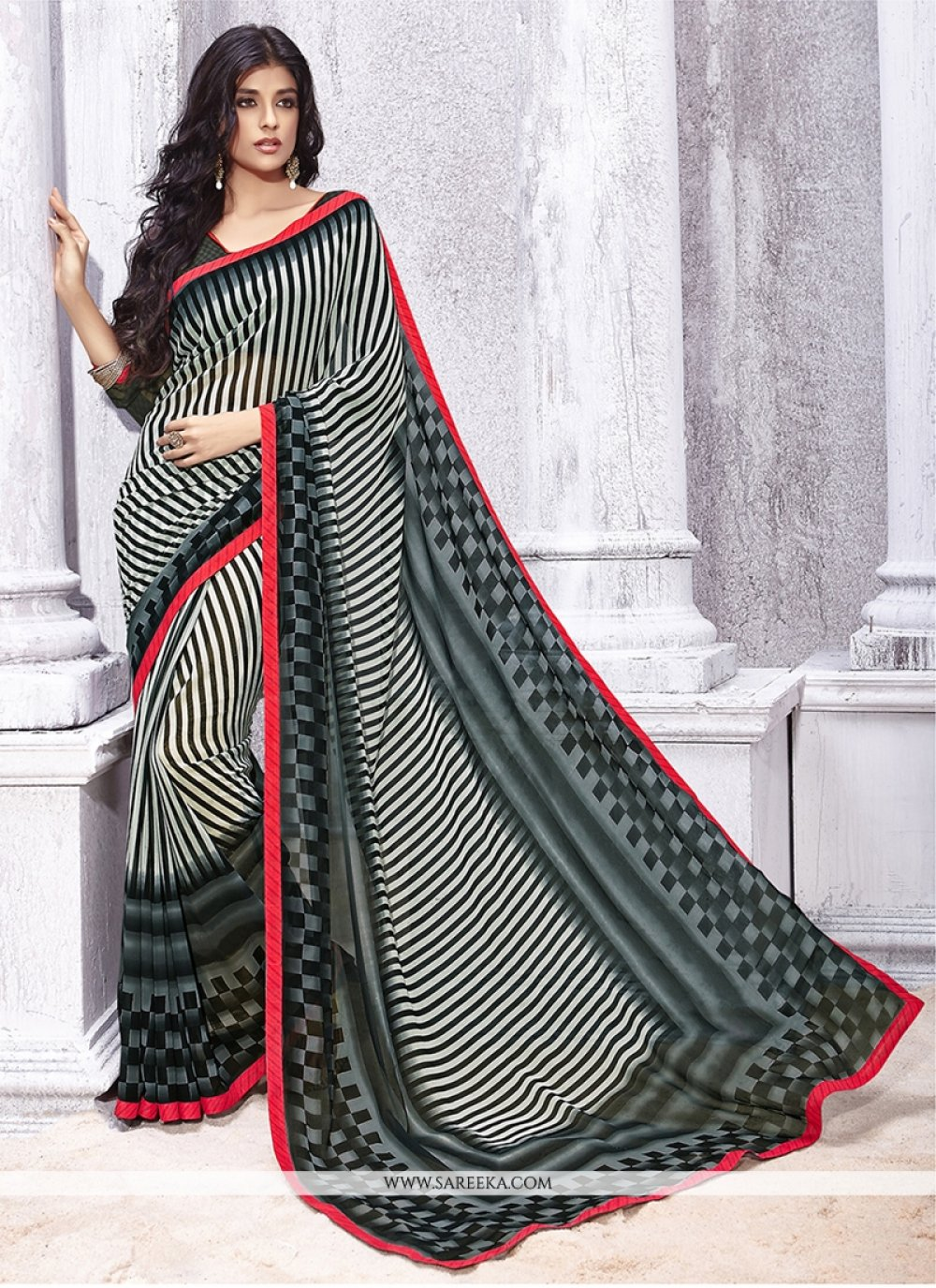 Georgette Black and Grey Print Work Casual Saree