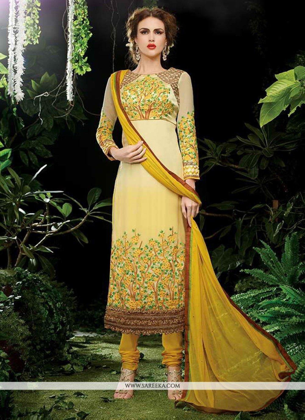 Georgette Yellow Resham Work Designer Straight Salwar Kameez