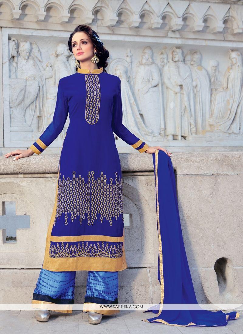 Lace Work Blue Designer Palazzo Suit