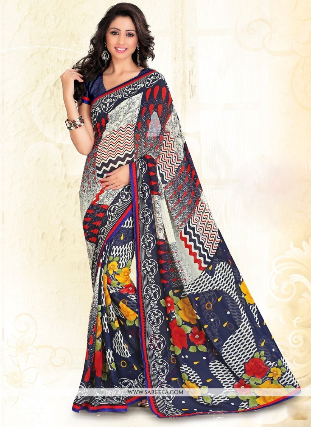 Multi Colour Print Work Faux Chiffon Casual Saree