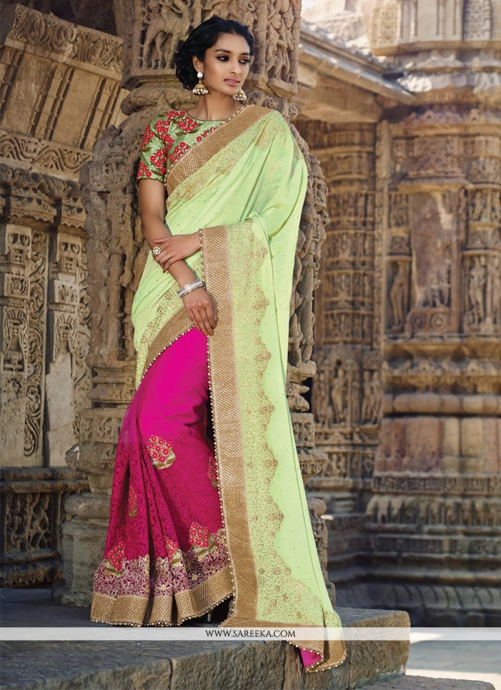 Patch Border Work Hot Pink Designer Saree